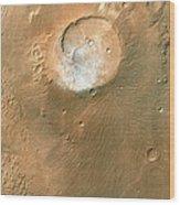 Volcano On Mars Wood Print