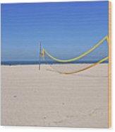 Volleyball Net On Beach Wood Print