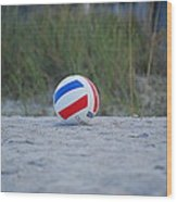 Volleyball On The Beach Wood Print