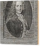 Voltaire, French Author Wood Print by Middle Temple Library