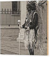 Voodoo Man In Jackson Square New Orleans- Sepia Wood Print