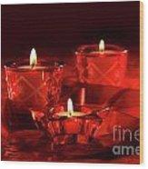 Votive Candles On Dark Red Background Wood Print