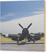 Vought F4u Corsair Fighter Plane On Runway Canvas Photo Poster Print Wood Print