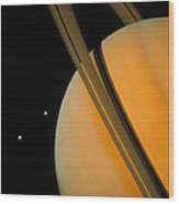 Voyager 1 Photograph Of Saturn & Two Of Its Moons Wood Print