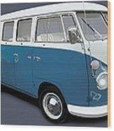 VW Campervan Blue Wood Print