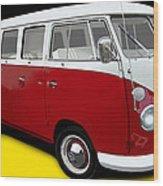 VW Campervan German Flag Wood Print
