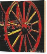 Wagon Wheel In Red Wood Print