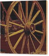 Wagon Wheel In Sepia Wood Print
