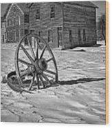 Wagon Wheel In Winter Wood Print