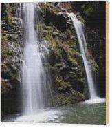Waikani Falls And Pond Wood Print