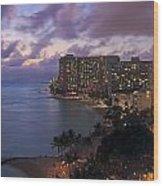 Waikiki At Night Wood Print
