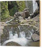 Wailua Falls And Rocks Wood Print