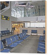 Waiting Area At An Airport Gate Wood Print by Jaak Nilson