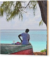Waiting For Her Ship To Come In Wood Print by Li Newton