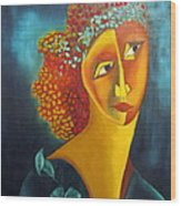 Waiting For Partner Orange Woman Blue Cubist Face Torso Tinted Hair Bold Eyes Neck Flower On Dress Wood Print