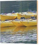 Waiting Kayaks Wood Print