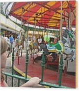Waiting To Ride Carousel Wood Print