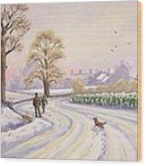 Walk In The Snow Wood Print by Lavinia Hamer