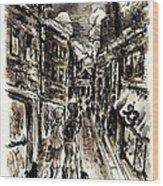 Walkin In The City Wood Print