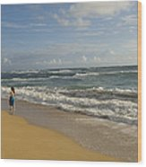 Walking In The Water At  Anahola Beach Wood Print