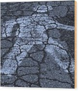 Walking Man In Cyan Wood Print