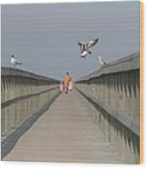 Walking Over The Bridge Wood Print