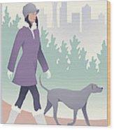 Walking The Dog In Seattle Wood Print
