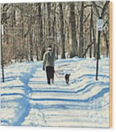 Walking The Dog Wood Print by Paul Ward