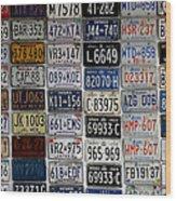 Wall Of License Plates Wood Print