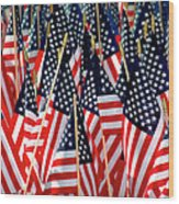 Wall Of Us Flags Wood Print