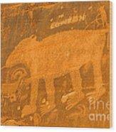 Wall Street Cliffs Petroglyph - Moab Wood Print