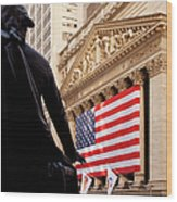 Wall Street Flag Wood Print