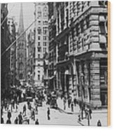 Wall Street Looking Toward Old Trinity Church - New York City - C 1910 Wood Print