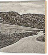Wandering In West Virginia Sepia Wood Print