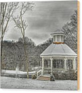 Warm Gazebo On A Cold Day Wood Print