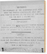 warning sign warning of the border of the turkish military controlled area of the SBA Sovereign Base Wood Print