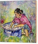 Washerwoman Beauty Wood Print