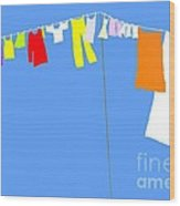 Washing Line Simplified Edition Wood Print