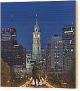 Washington Monument And City Hall Wood Print
