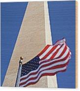 Washington Monument Flag Wood Print