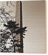 Washington Monument In Sepia Wood Print