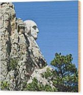 Washinton On Mt Rushmore Wood Print
