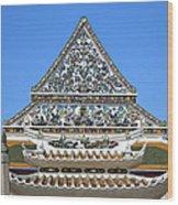 Wat Ratcha Orasaram Temple Gate And Ubosot Gable Dthb858 Wood Print