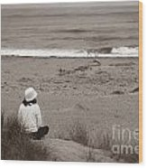 Watching The Ocean In Black And White Wood Print