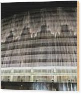 Water Cascade Over Building Wood Print