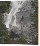 Water Cascading Down The Rock And Wood Print