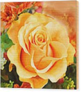 Water Color Yellow Rose With Orange Flower Accents Wood Print