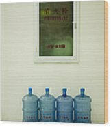 Water Cooler Bottles And Fire Hydrant Cabinet Wood Print by Andersen Ross
