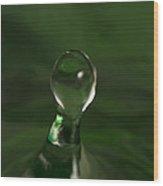 Water Drop Abstract Green 10 Wood Print