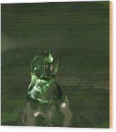 Water Drop Abstract Green 17 Wood Print